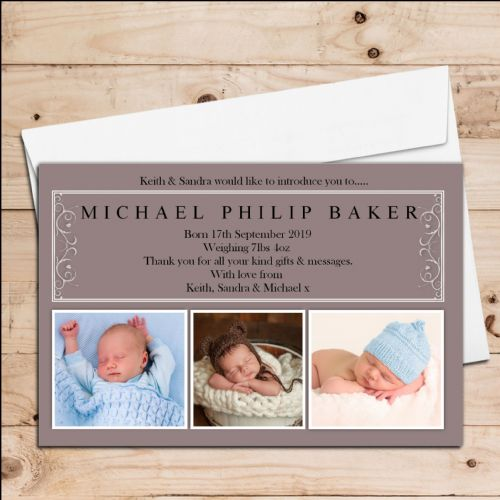 10 Personalised Baby Birth Announcement Thank You PHOTO cards N87